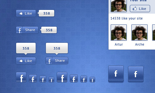 11 Facebook Like Button PSD Images