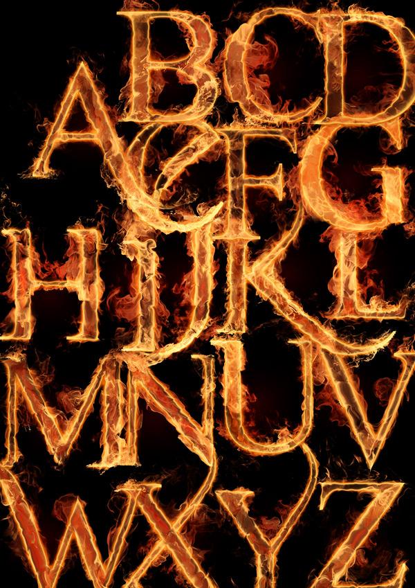Free Fire Flames Alphabet Letters