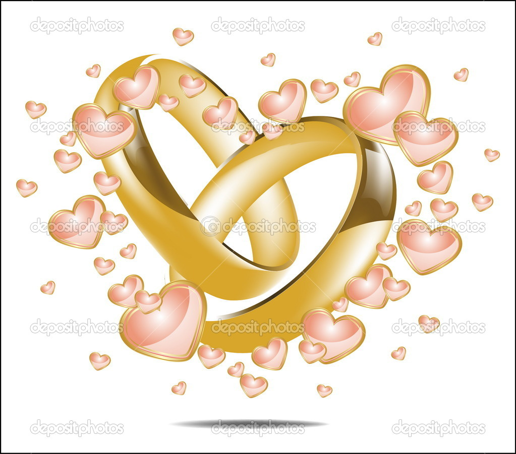Heart and Wedding Rings Clip Art