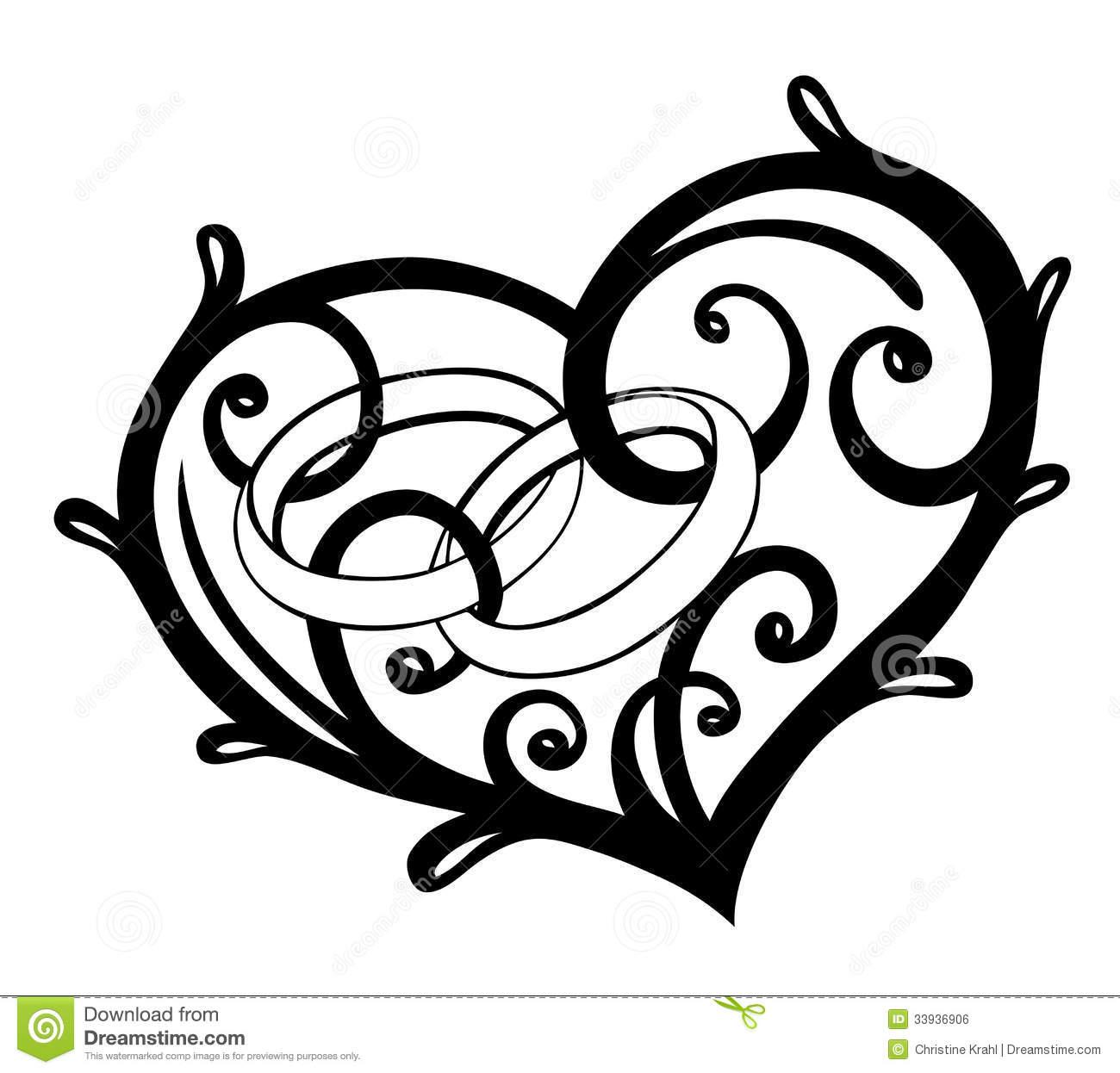Heart Wedding Rings Clip Art