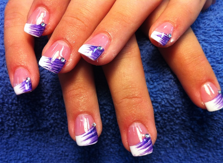 18 Purple And White Nail Designs Images Purple Glitter Nails