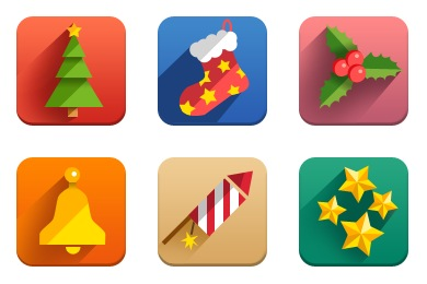 New Year Icons Flat
