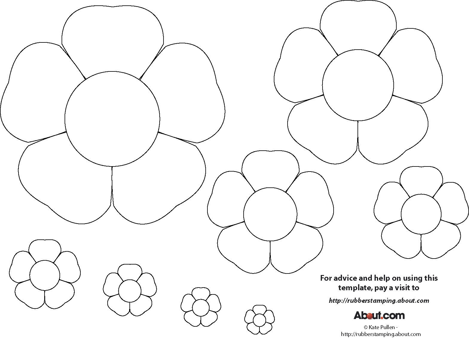 graphic relating to Free Printable Flower Templates referred to as 15 Printable Flower Behavior Styles Visuals - Paper Flower