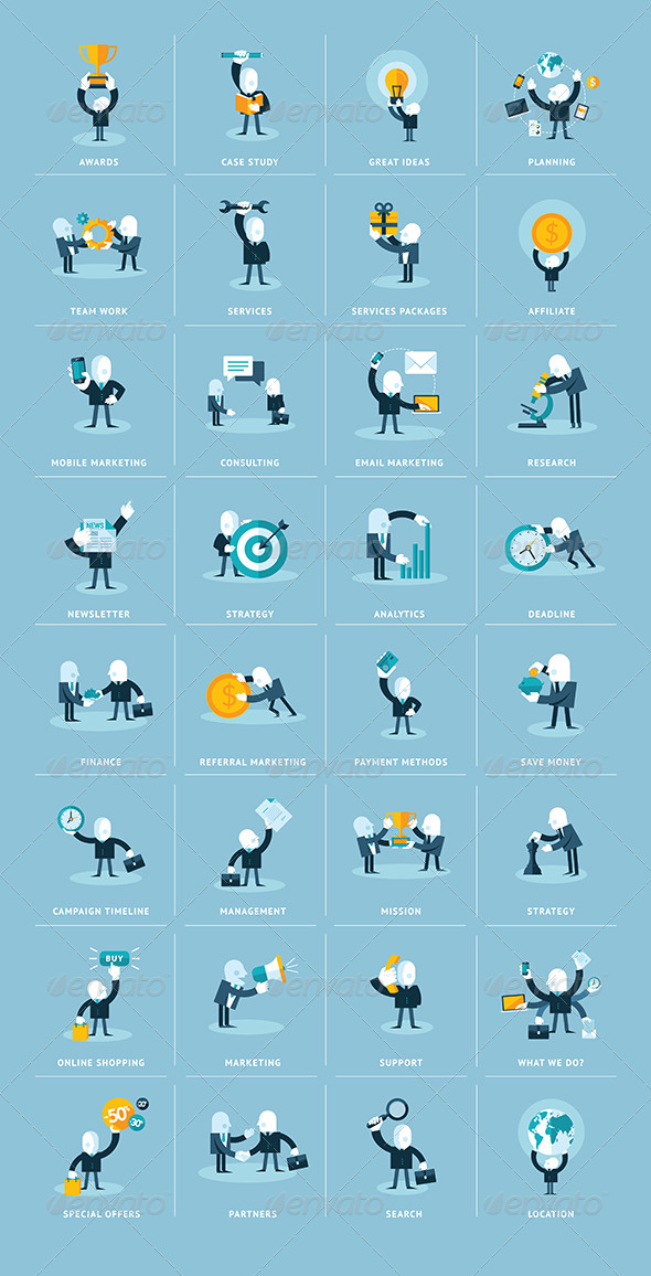 9 Business Flat Icons People Images