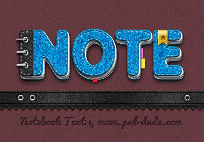 Photoshop Notebook Paper Text