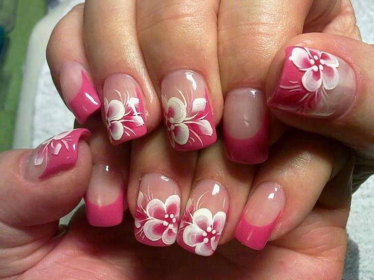 Pink Hawaiian Flower Nail Designs