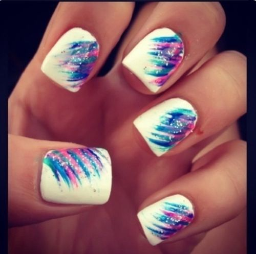 Pink White and Blue Nail Designs - 18 Purple And White Nail Designs Images - Purple Glitter Nails