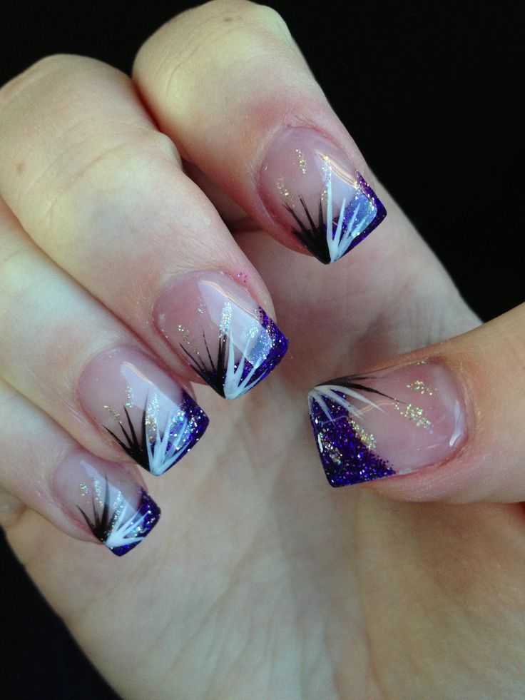 Attractive Purple And Silver Acrylic Nails Pictures