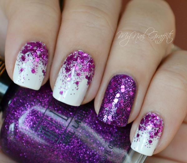 18 Purple And White Nail Designs Images