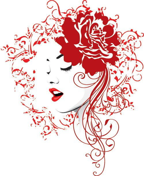 7 Flower Woman Face Vector Images