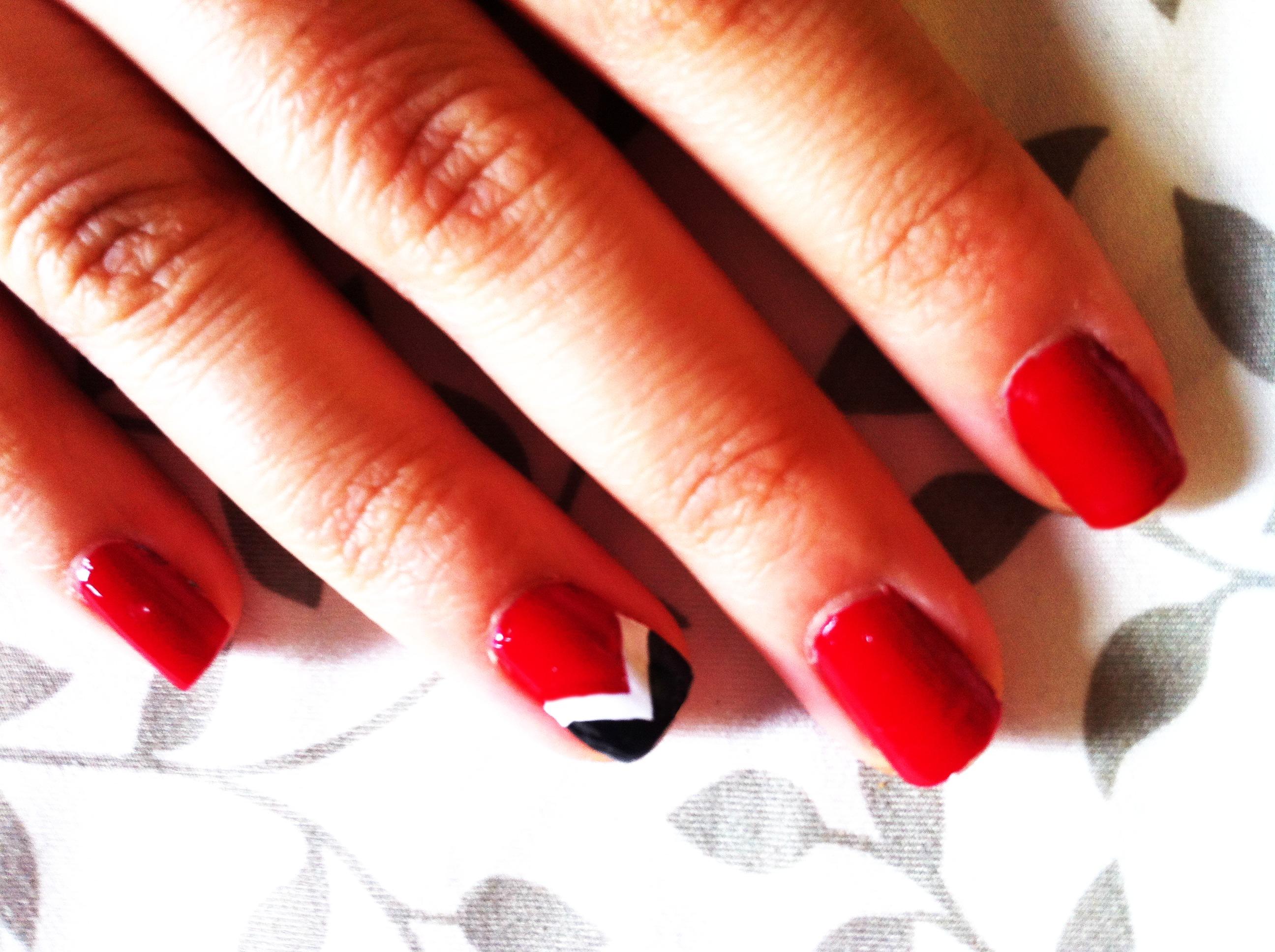 Red Black And Silver Nail Art  Nails  Nail Polish Nail Colour