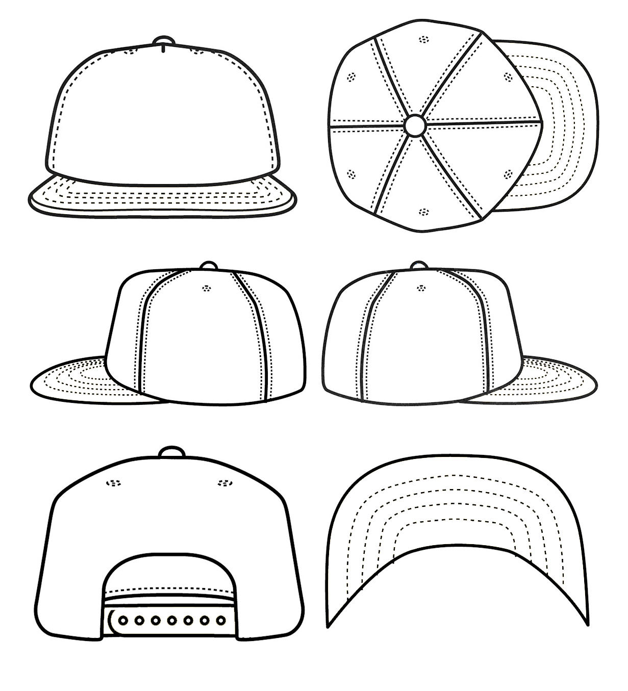 Snapback Hat Template