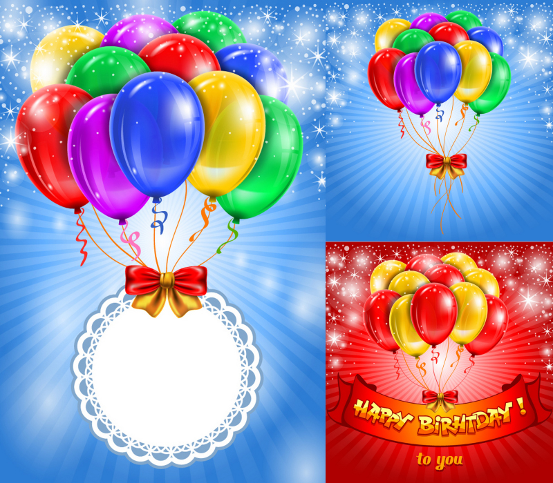 Vector Colorful Happy Birthday Balloons