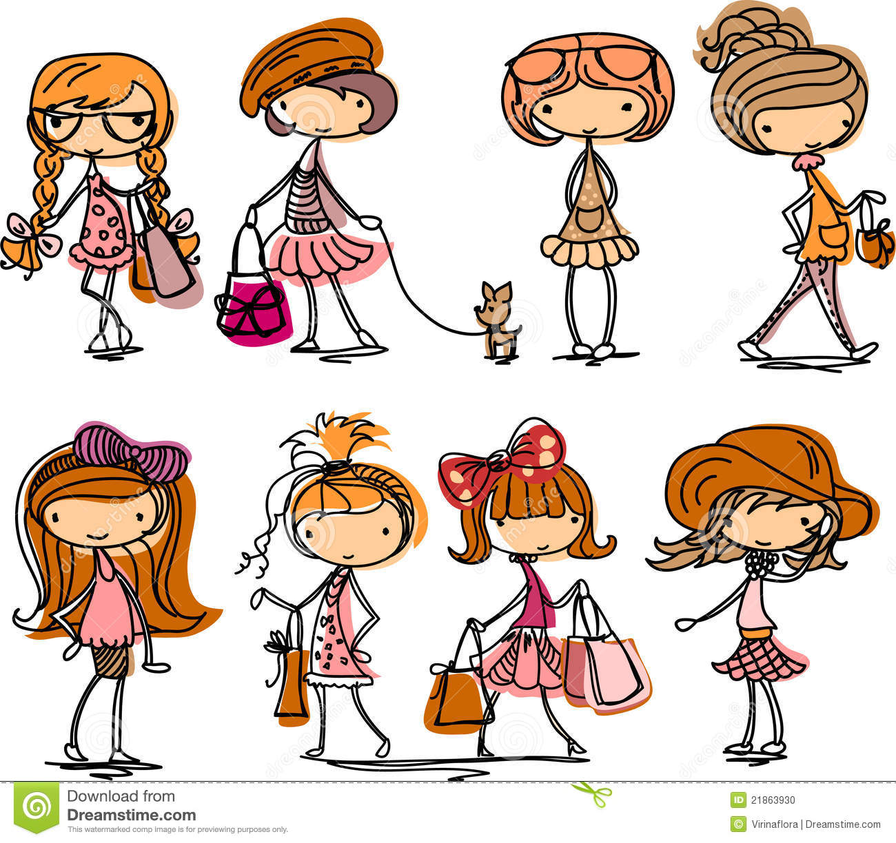Vector Fashion Girls Cartoon