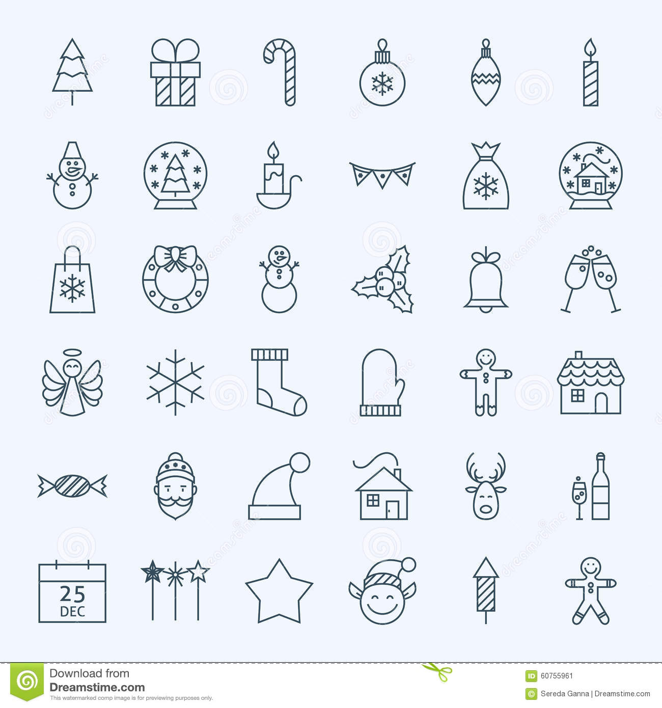 Vector Set of 36 New Year Holiday Modern Line Icons for Web