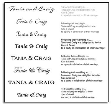 Wedding Invitation Font Examples