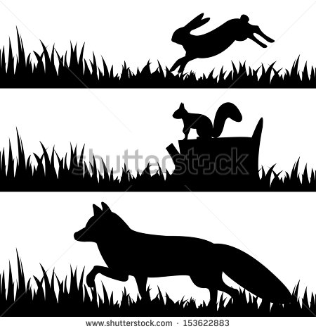 5 Wild Animals Silhouette Vector Images