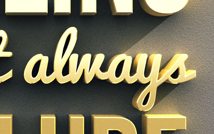 3D Gold Text Photoshop Tutorial