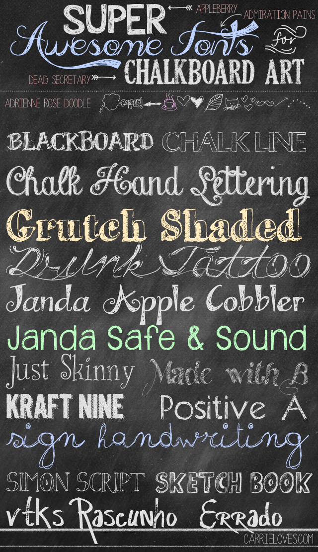 12 Chalkboard Art Fonts Cursive Images
