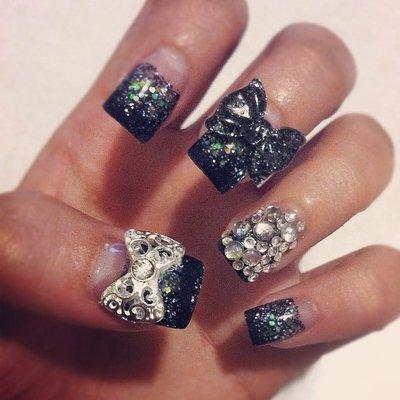 Black Acrylic Nails with Rhinestones