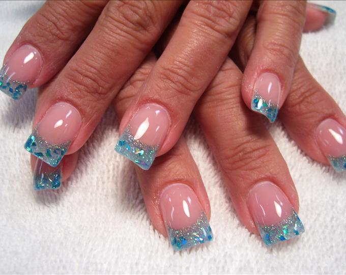 Blue Glitter Acrylic Nail Designs