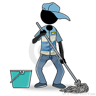 Cartoon Person Cleaning