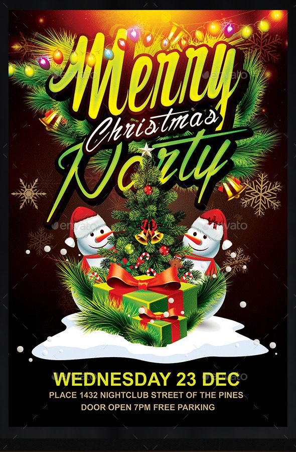 16 free christmas party flyer psd template images for Christmas party flyer templates