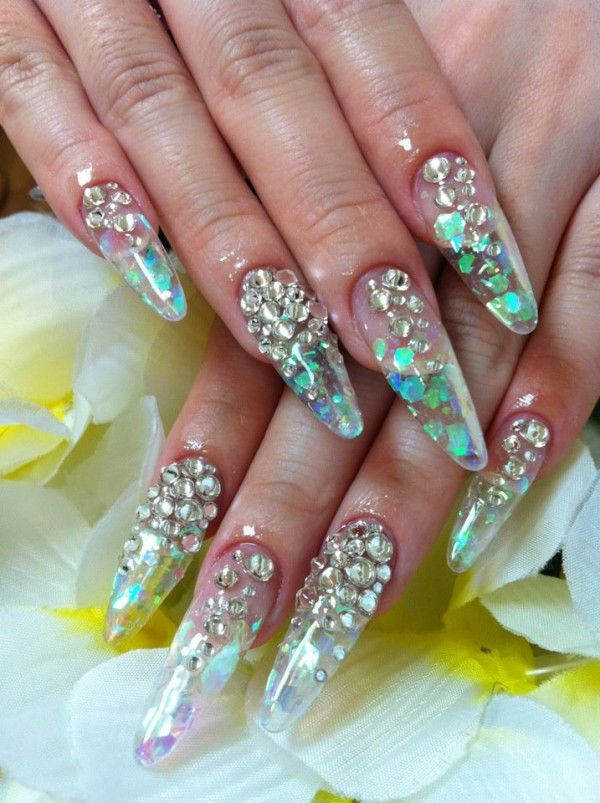 Clear Nails with Designs