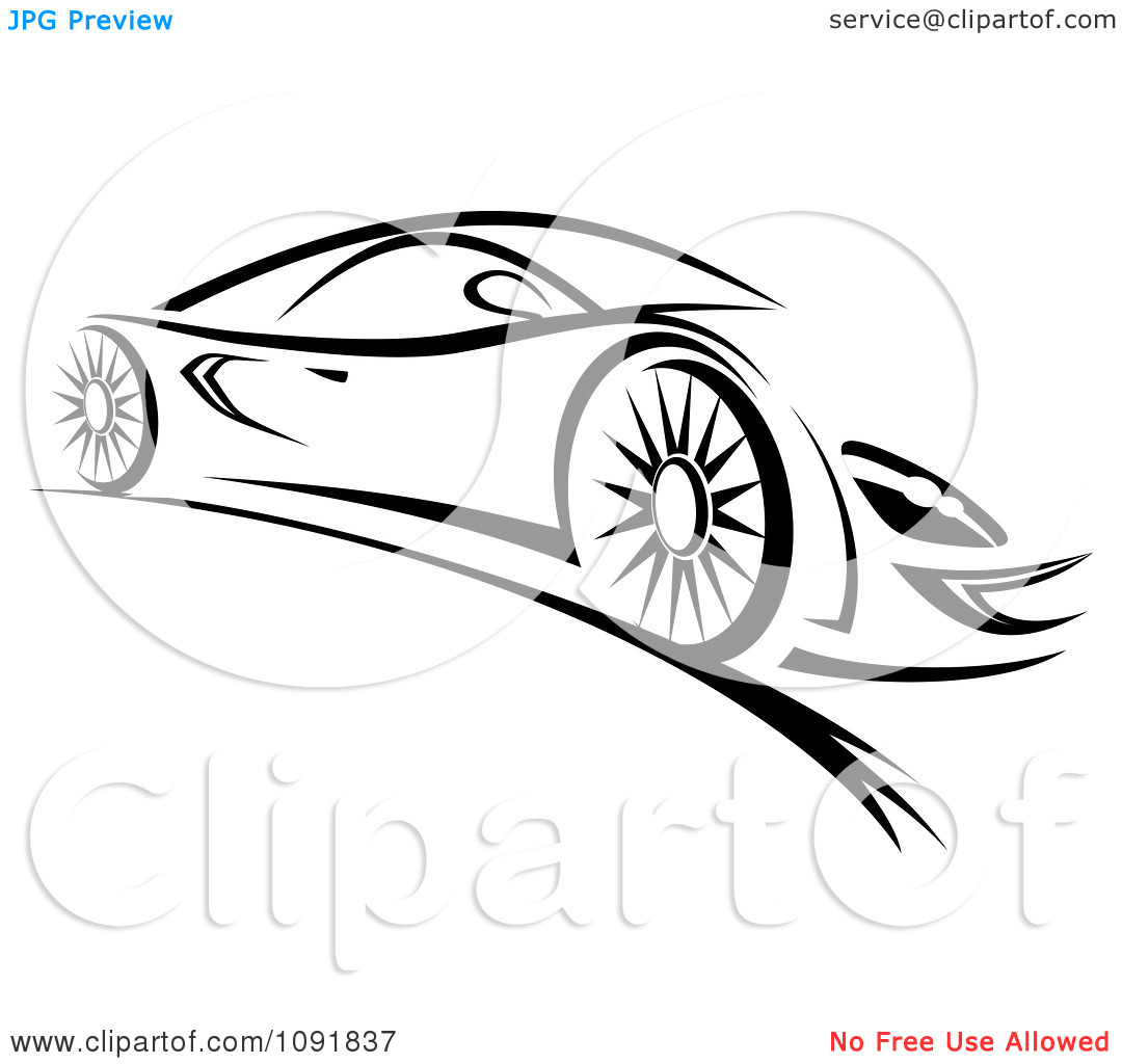 Clip Art Black and White Sports Car