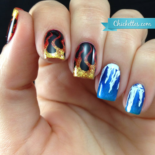 Fire and Ice Nail Art
