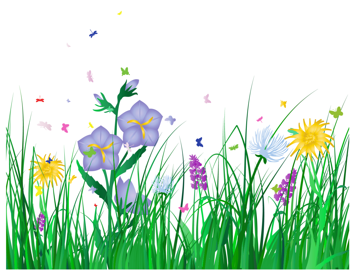 Flowers in Grass Clip Art Transparent