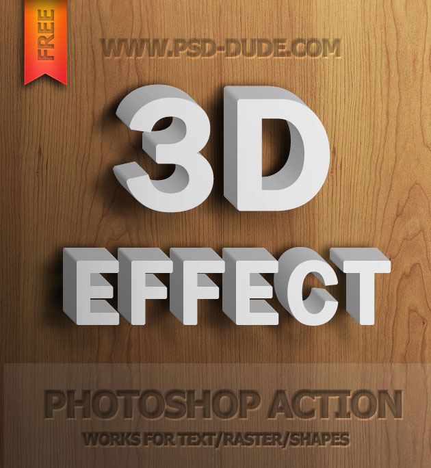 Free 3D Text Action Photoshop