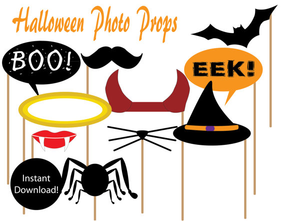 graphic about Halloween Photo Booth Props Printable Free identified as 15 Printable Halloween Photograph Props Illustrations or photos - Halloween Picture