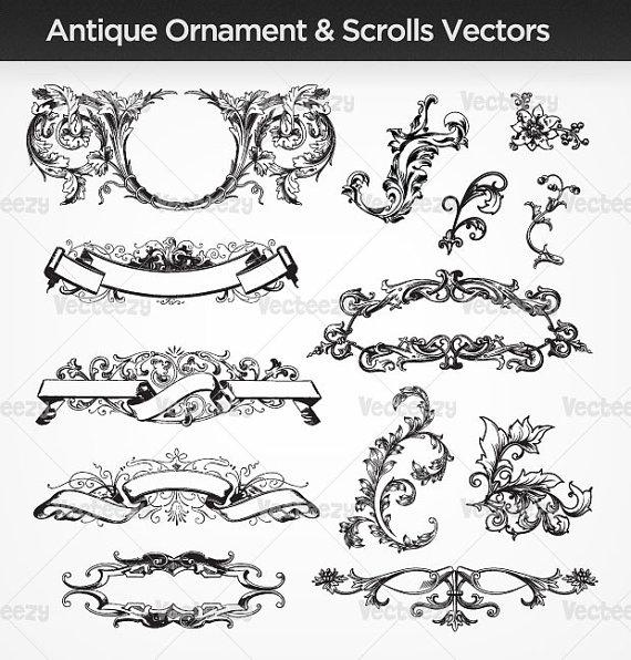 14 Elegant Scroll Ornaments Vector Images
