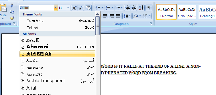 Microsoft Office Word 2007 Fonts