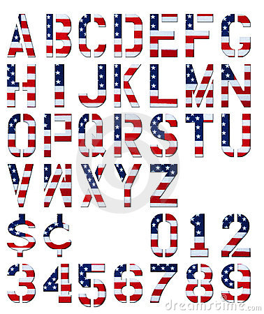 Patriotic Alphabet Letters Clip Art