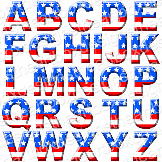 Patriotic Red White and Blue Font