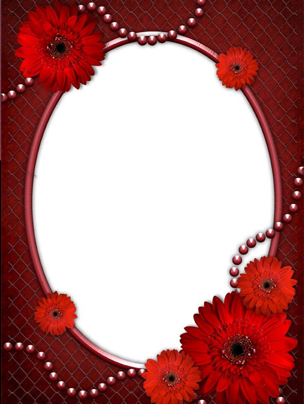Red Flower Borders and Frames