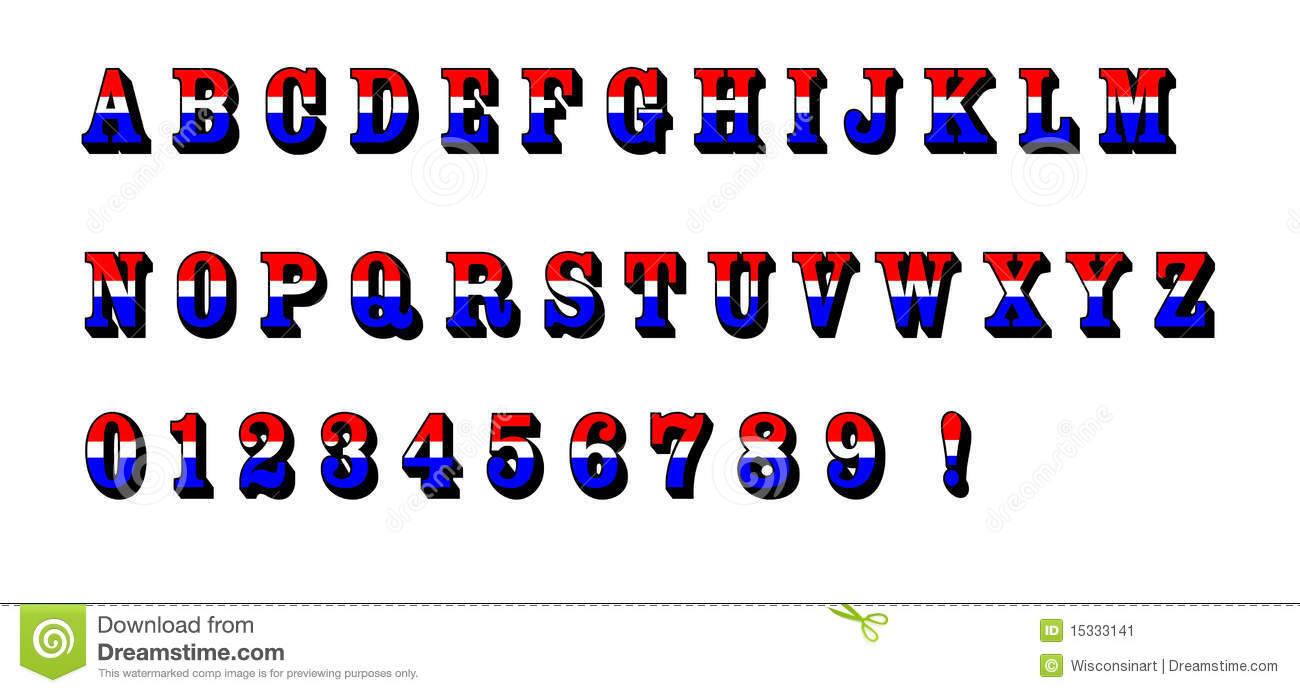 Red White and Blue Letters Font