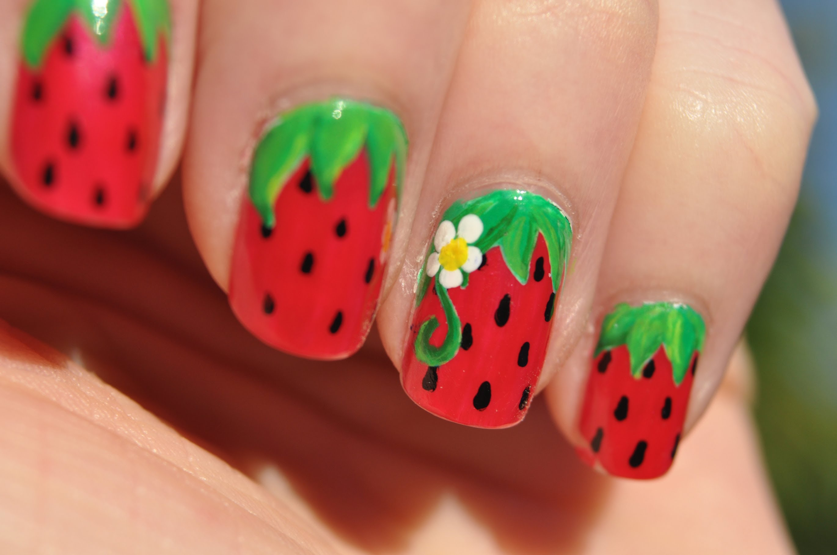 14 Cute Strawberry Nail Designs Images