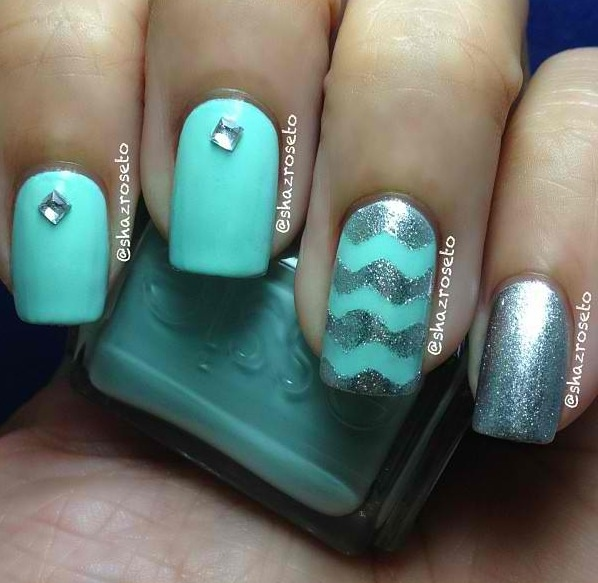 Nail design with teal diagonal teal nail design nails nail art nail design  with teal teal - Black And Teal Nail Designs Images - Nail Art And Nail Design Ideas