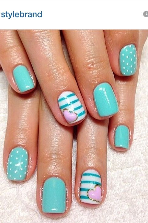 8 Teal Nail Designs Images