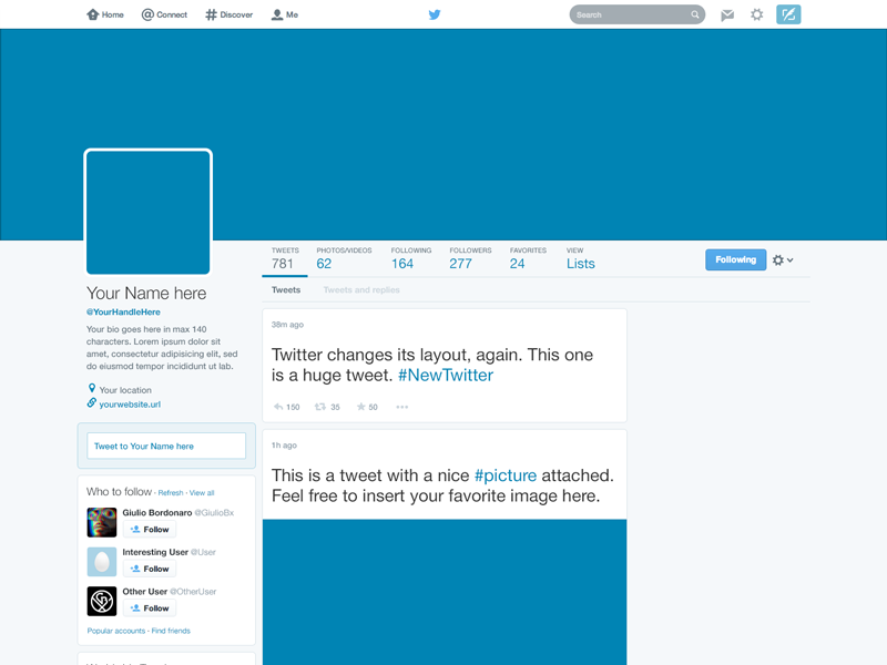14 2014 Twitter PSD Template Images