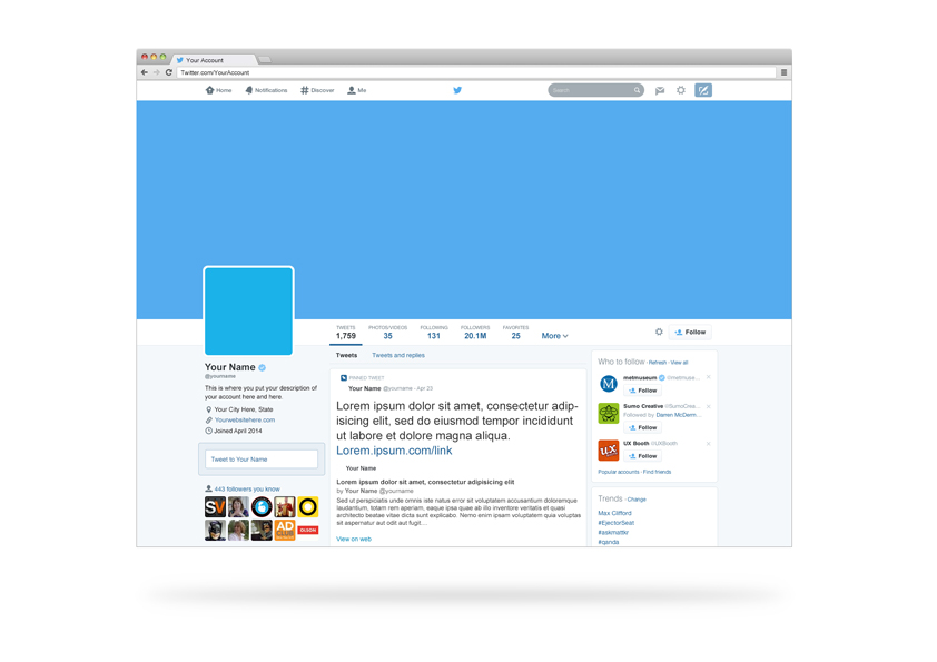 12 Twitter Page Template PSD Images