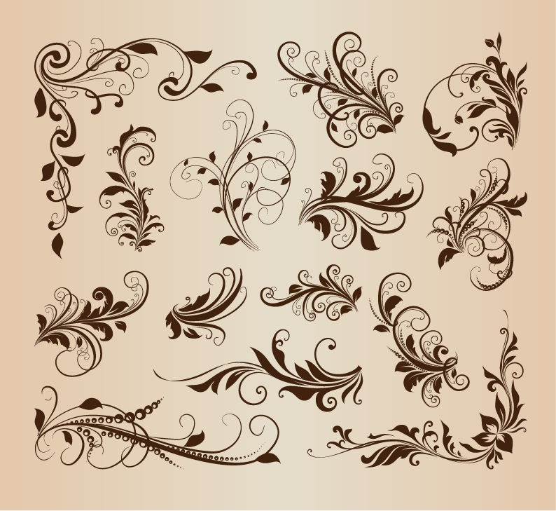 20 Vintage Patterns Vector Swirl Images