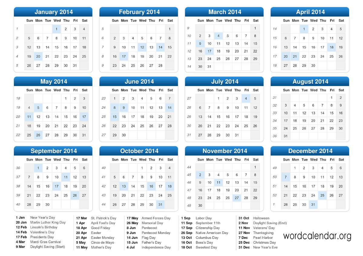 2012 Calendar with Holidays