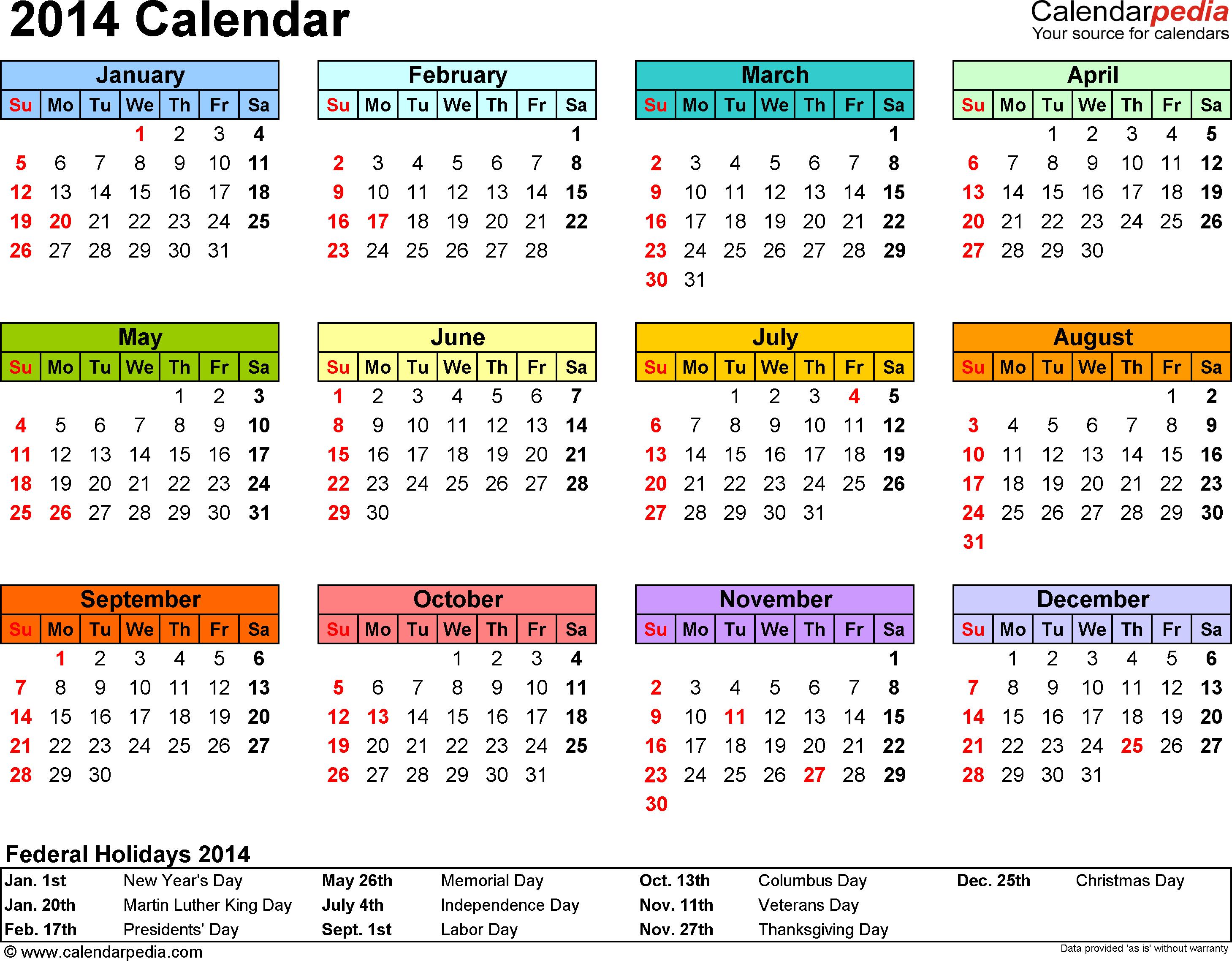 17 2014 Calendar Template Images
