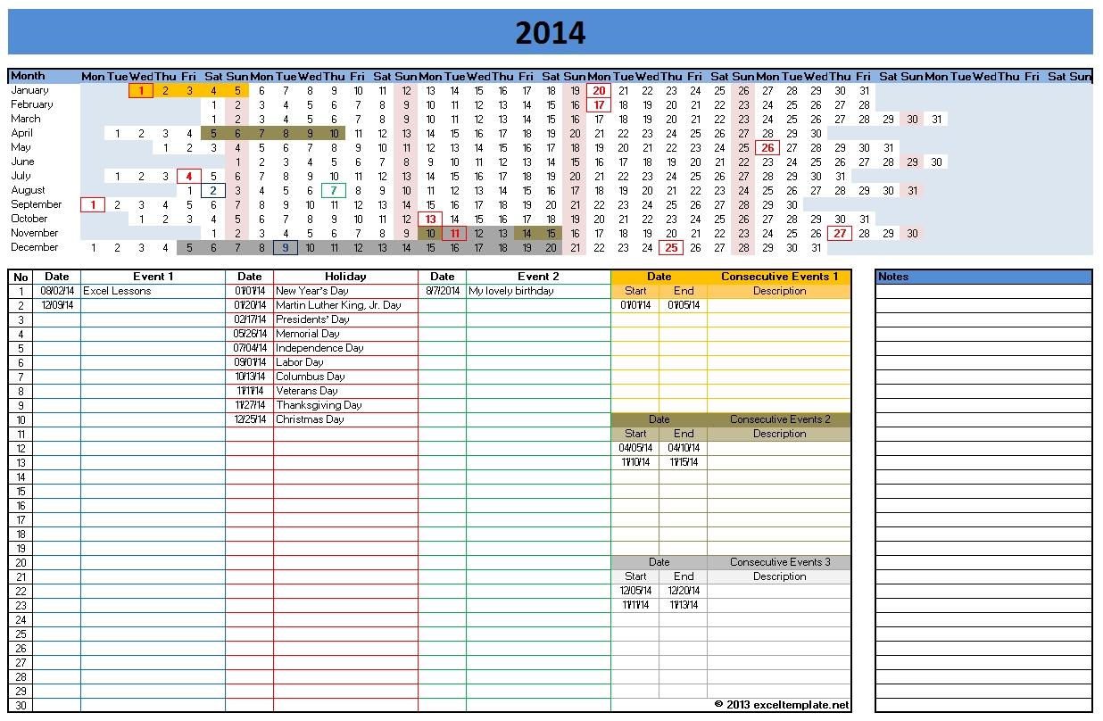 2014 Excel Calendar Template
