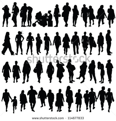 Black and White Silhouette People