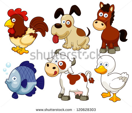 9 Cartoon Farm Animals Vector Images